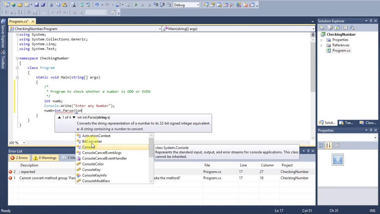 How to Test for Even or Odd Number in C#